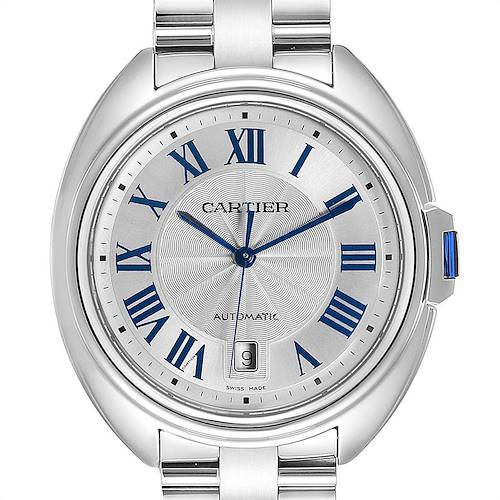Photo of Cartier Cle Silver Guilloche Dial Stainless Steel Mens Watch WSCL0007