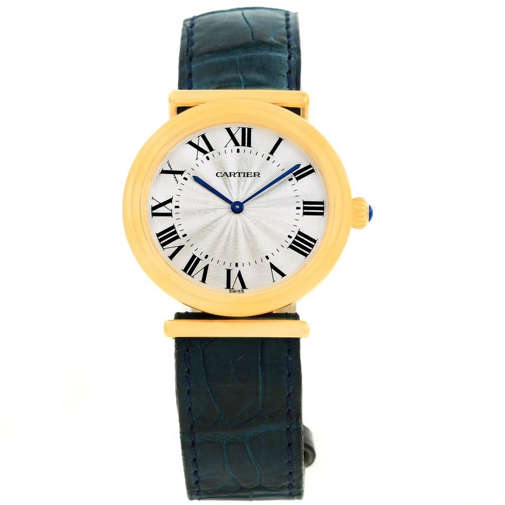 14104 Cartier Vendome BiPlan 18K Yellow Gold Blue Strap Watch W1514457 SwissWatchExpo