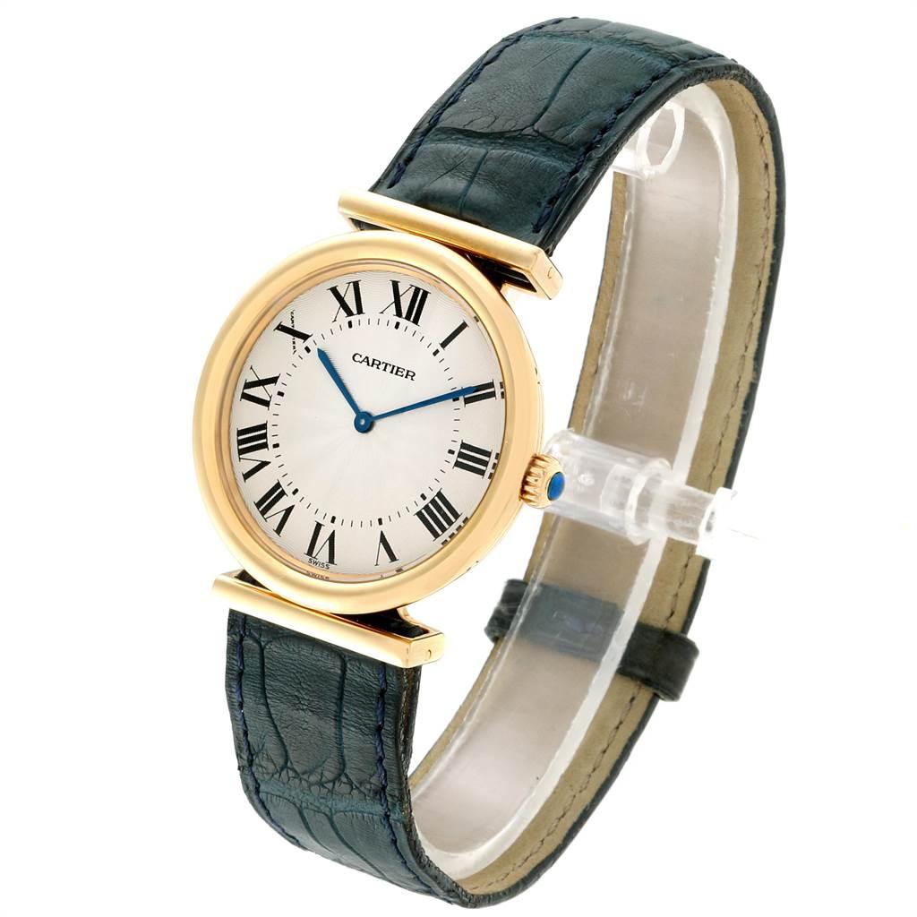 14104 Cartier Vendome BiPlan Yellow Gold Blue Strap Mens Watch W1514457 SwissWatchExpo