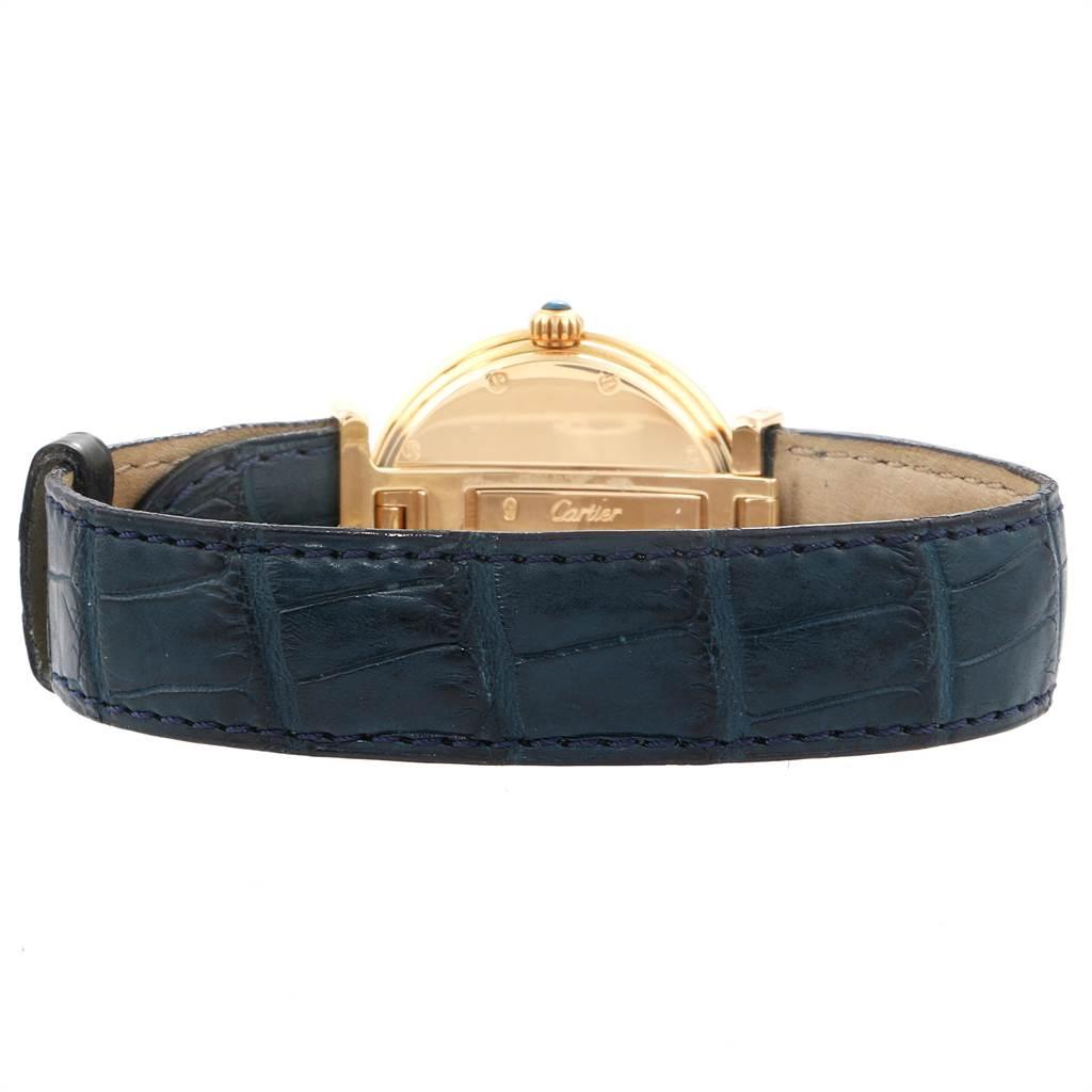 Cartier Vendome BiPlan Yellow Gold Blue Strap Mens Watch W1514457 SwissWatchExpo