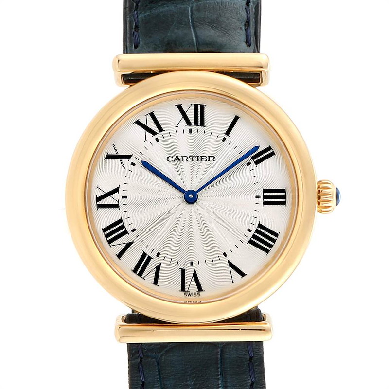 Cartier Vendome BiPlan Yellow Gold Blue Strap Mens Watch W1514457 SwissWatchExpo