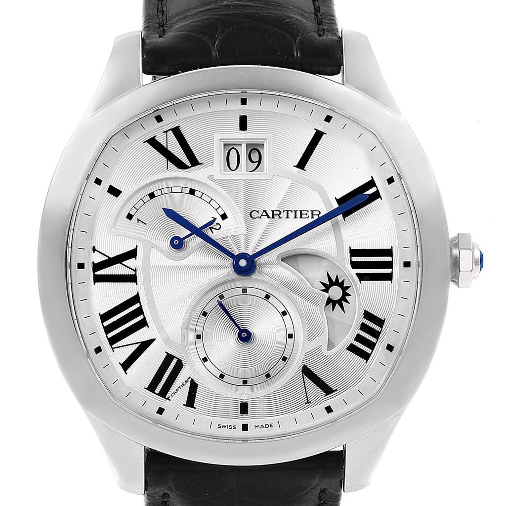 Cartier Drive Second Time Zone Steel Mens Watch WSNM0005 Box Papers