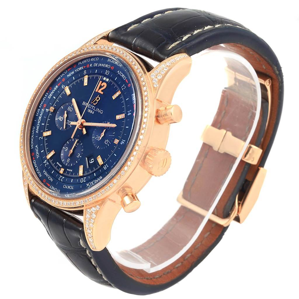 Breitling Transocean Chrono Rose Gold Diamonds LE Watch AB0510 SwissWatchExpo
