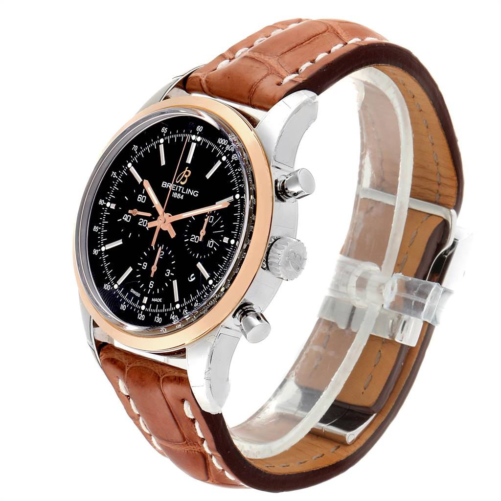 18225 Breitling Transocean Chronograph 43mm Rose Gold Steel Mens Watch UB0152 SwissWatchExpo
