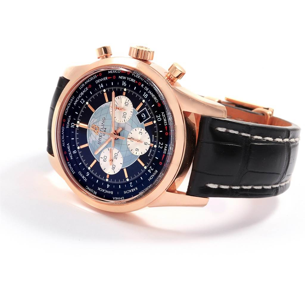 18560 Breitling Transocean Chronograph Unitime Rose Gold Watch RB0510 SwissWatchExpo