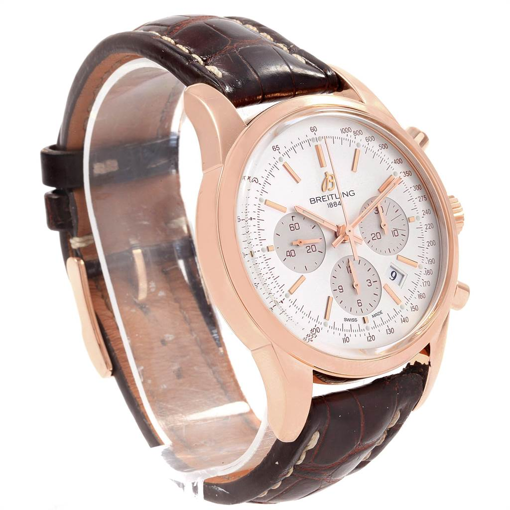 19857 Breitling Transocean Chronograph 43mm Rose Gold Mens Watch RB0152 SwissWatchExpo