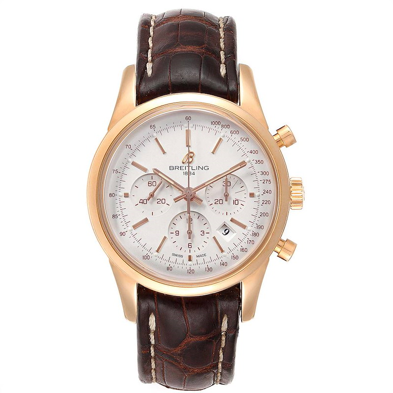 Breitling Transocean Chronograph 43mm Rose Gold Mens Watch RB0152 SwissWatchExpo