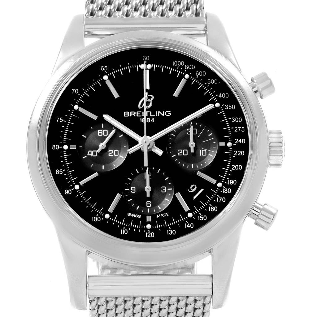 19869 Breitling Transocean Mesh Bracelet Chronograph Steel Mens Watch AB0152 SwissWatchExpo