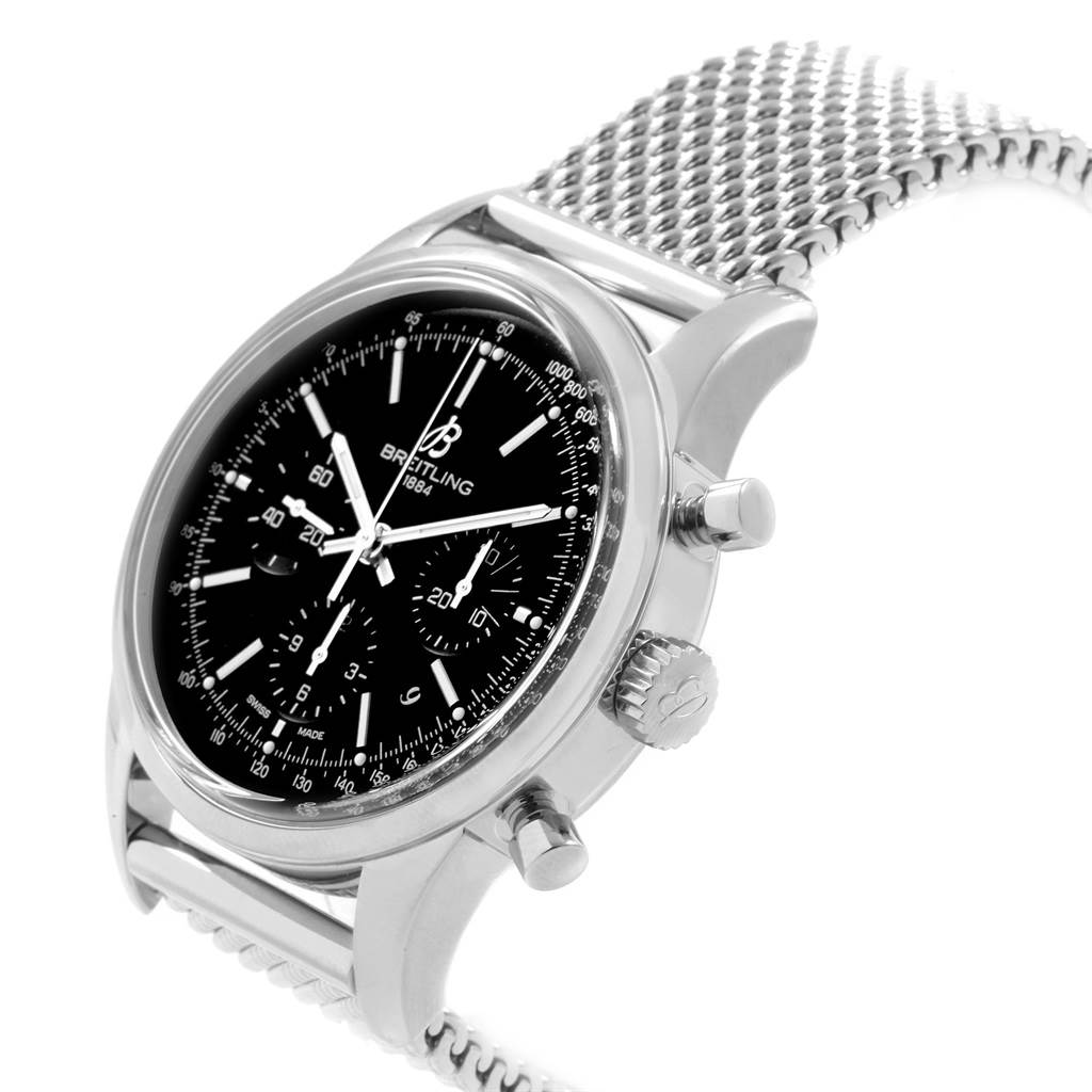 Breitling Transocean Mesh Bracelet Chronograph Steel Mens Watch AB0152 SwissWatchExpo