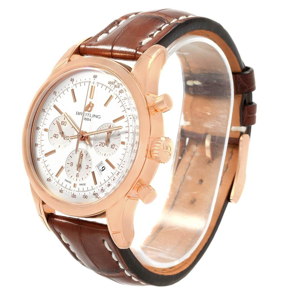 20267 Breitling Transocean Chronograph 43 Rose Gold Mens Watch RB0152 Unworn SwissWatchExpo