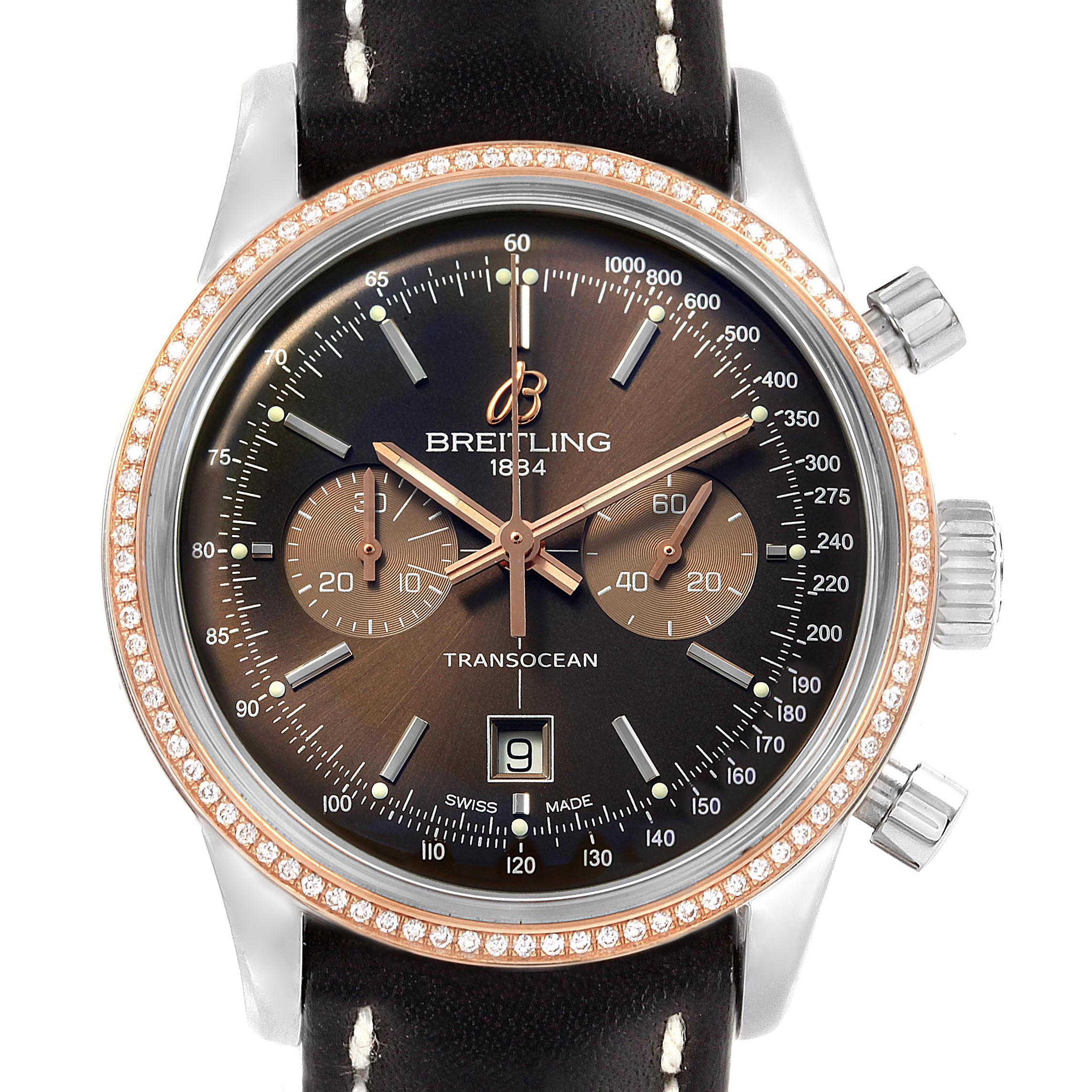Breitling Transocean 38 Steel Rose Gold Diamond Mens Watch U41310 SwissWatchExpo