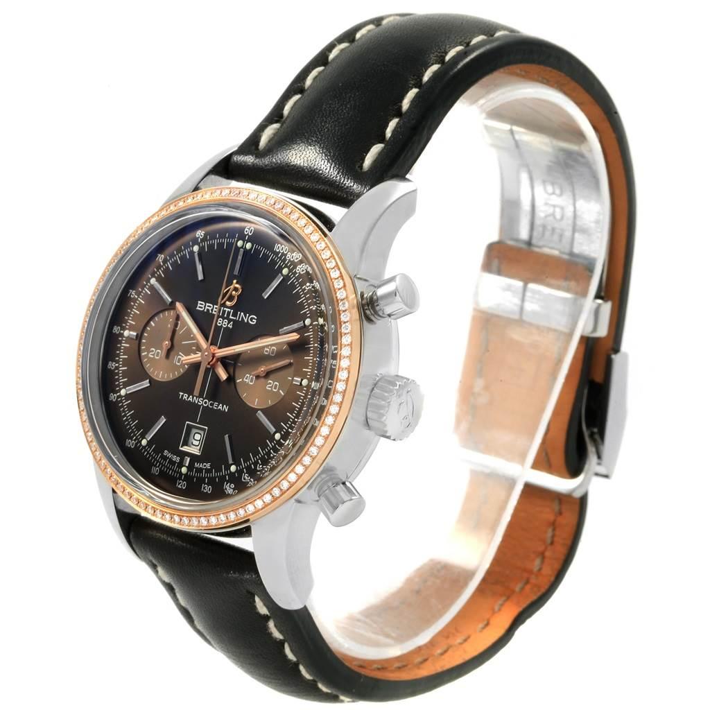20336 Breitling Transocean 38 Steel Rose Gold Diamond Mens Watch U41310 SwissWatchExpo