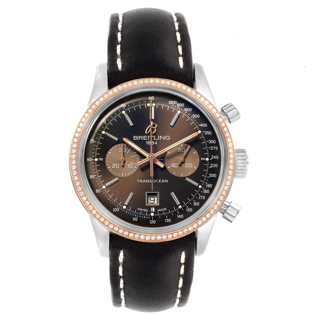 20336 Breitling Transocean 38 Steel Rose Gold Diamond Mens Watch U41310 SwissWatchExpo