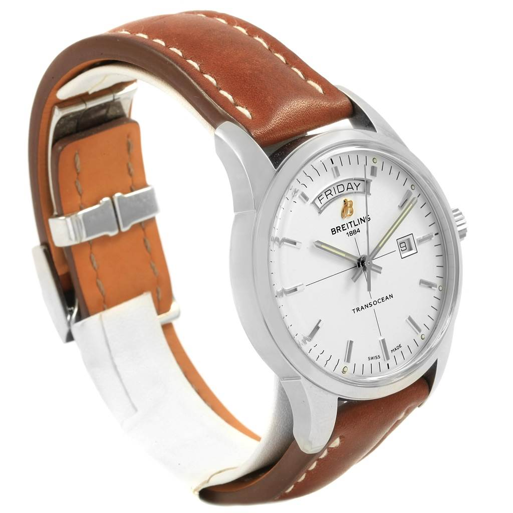 Breitling Transocean Silver Dial Steel Mens Watch A45310 Box Papers SwissWatchExpo