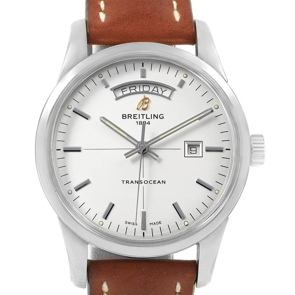 20569 Breitling Transocean Silver Dial Steel Mens Watch A45310 Box Papers SwissWatchExpo