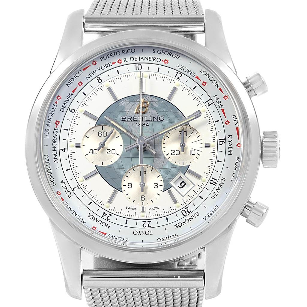 20855  Breitling Transocean Chronograph Unitime Steel Mens Watch Watch AB0510 SwissWatchExpo