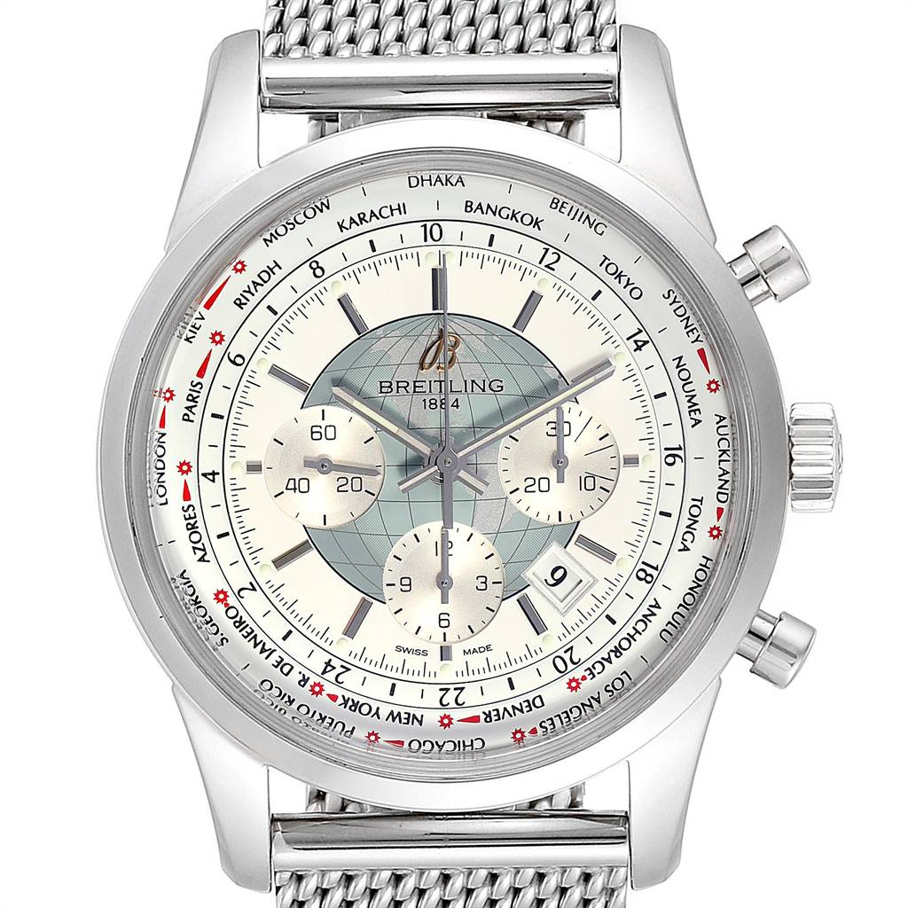 24287 Breitling Transocean Chronograph Unitime Steel Mens Watch Watch AB0510 SwissWatchExpo
