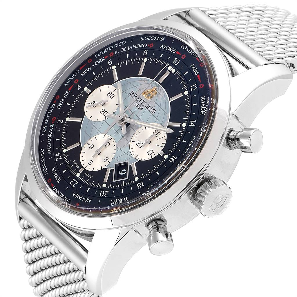 24834 Breitling Transocean Chronograph Unitime Mens Watch AB0510 Box Papers SwissWatchExpo