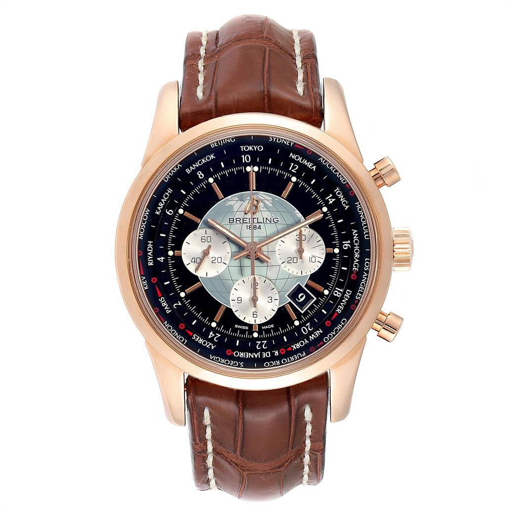 Breitling Transocean Chronograph Unitime Rose Gold Watch RB0510 SwissWatchExpo