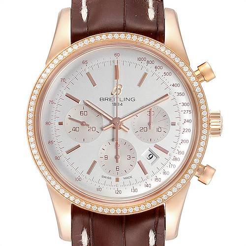 Photo of Breitling Transocean 43mm Rose Gold Diamond Mens Watch RB0152 Unworn