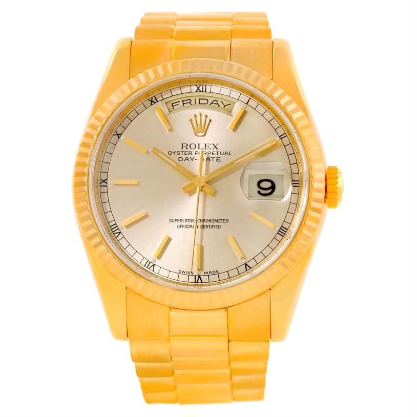 Rolex President Day Date Mens 18k Yellow Gold Watch 118238 SwissWatchExpo