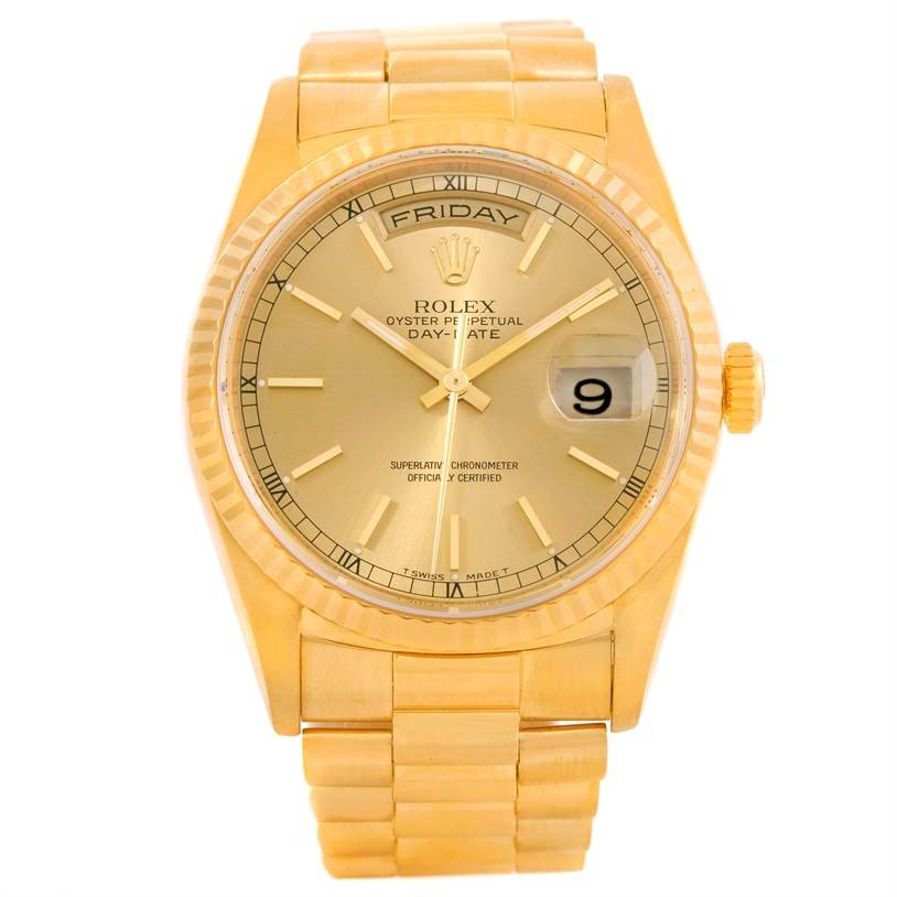 rolex president day date mens 18k yellow gold 18238