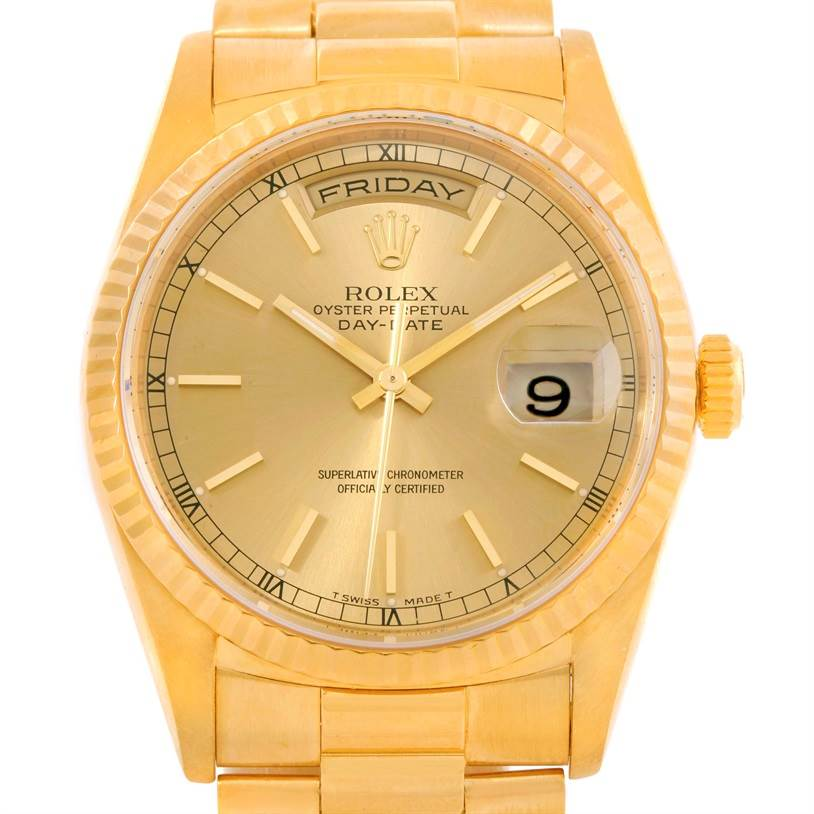 10073 Rolex President Day Date Mens 18k Yellow Gold Watch 18238 SwissWatchExpo