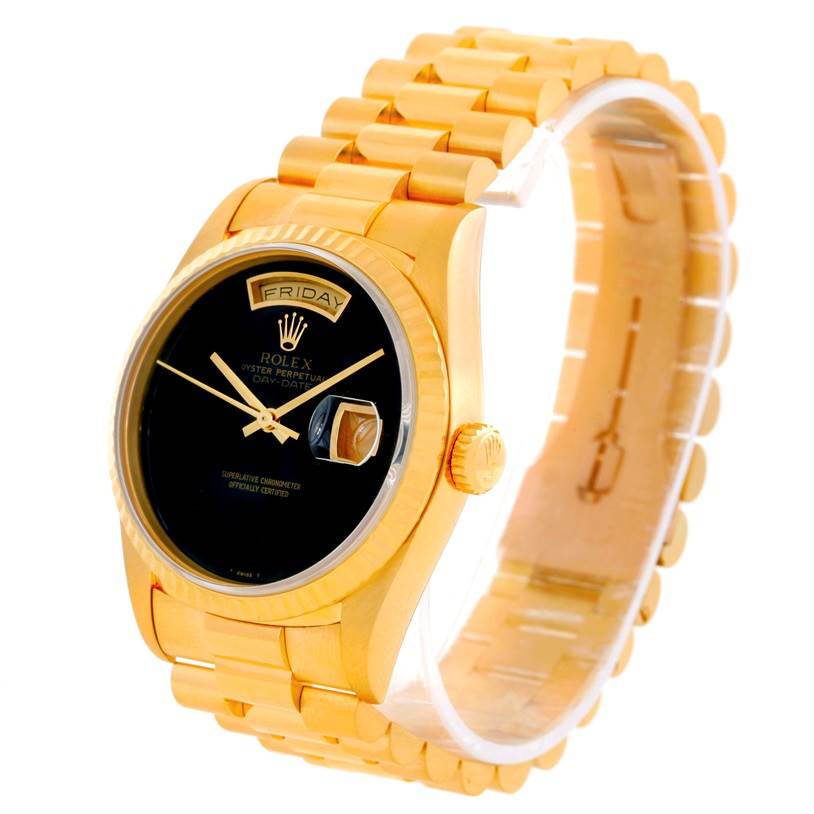 10141 Rolex President Day Date Mens 18k Yellow Gold Onyx Dial Watch 18238 SwissWatchExpo