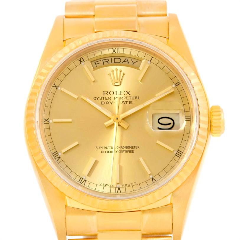 10159 Rolex President Day-Date 18k Yellow Gold Baton Dial Watch Mens 18038 SwissWatchExpo