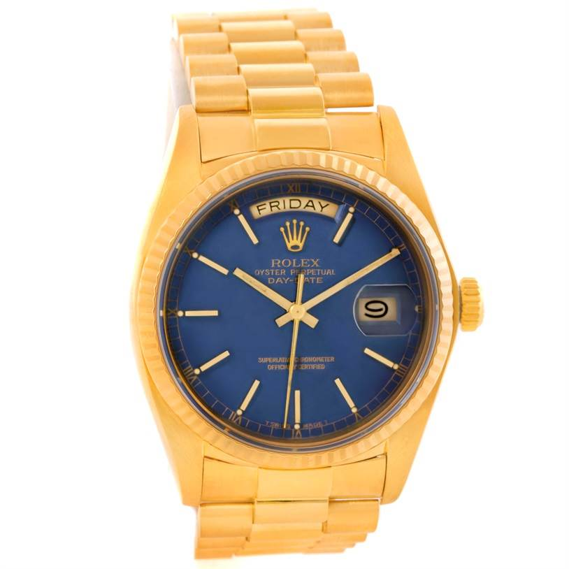 rolex president day date 18k yellow gold blue