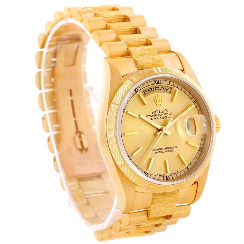 10393 Rolex President Mens 18k Yellow Gold Bark Finish Watch 18248 SwissWatchExpo