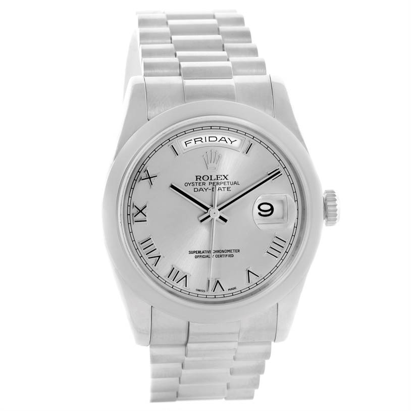 rolex president day date 18k white gold mens 118209
