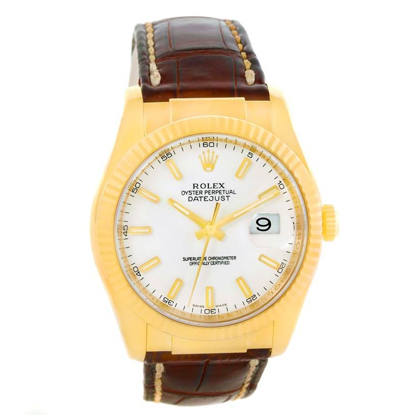 rolex datejust 18k yellow gold leather mens 116138