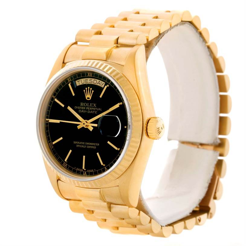 11051 Rolex President Day-Date Mens 18k Yellow Gold Black Dial Watch 18038 SwissWatchExpo