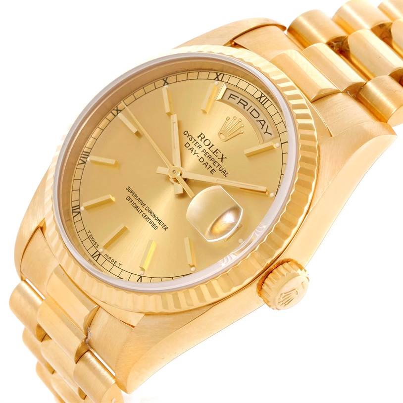 Rolex President Day Date Mens 18k Yellow Gold Watch 18238 Box Papers SwissWatchExpo