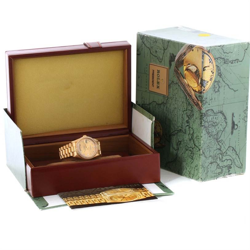11558 Rolex President Day Date 18k Yellow Gold Diamond Watch 18348 Box Papers SwissWatchExpo