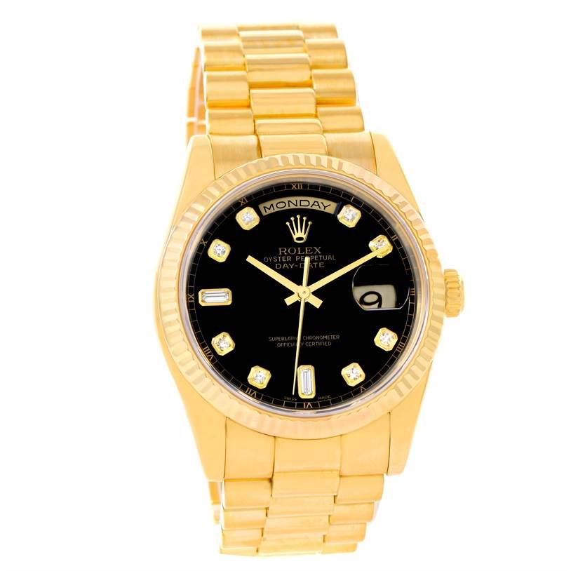 12059 Rolex President Day Date Yellow Gold Black Diamond Dial Watch 118238 SwissWatchExpo