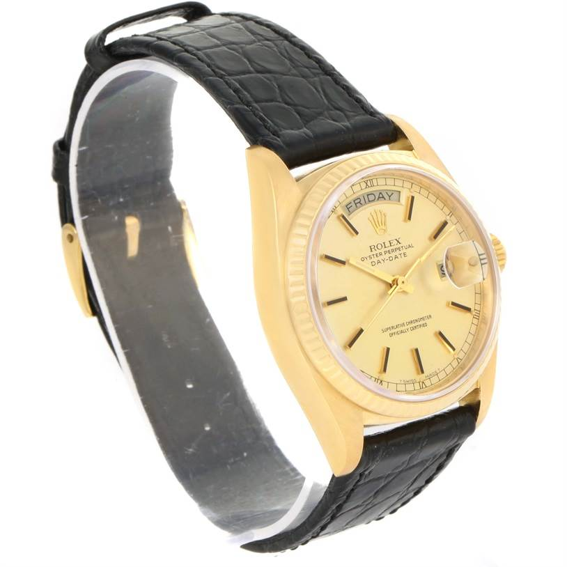12315 Rolex President Day-Date 18k Yellow Gold Leather Strap Watch 18038 SwissWatchExpo
