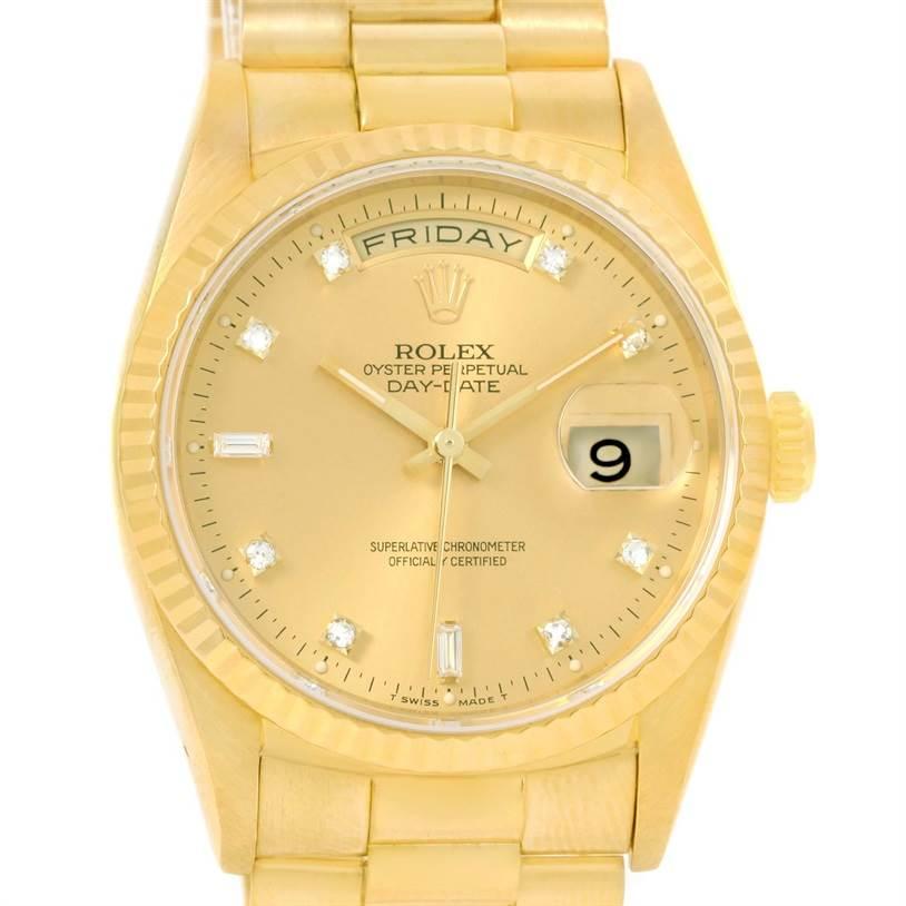 12706 Rolex President Day Date Mens 18k Yellow Gold Diamond Watch 18238 SwissWatchExpo