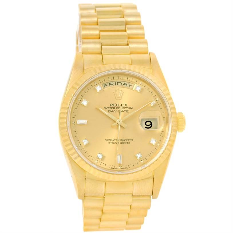 12706 Rolex President Day Date Mens 18k Yellow Gold Diamond Watch 18238 SwissWatchExpo