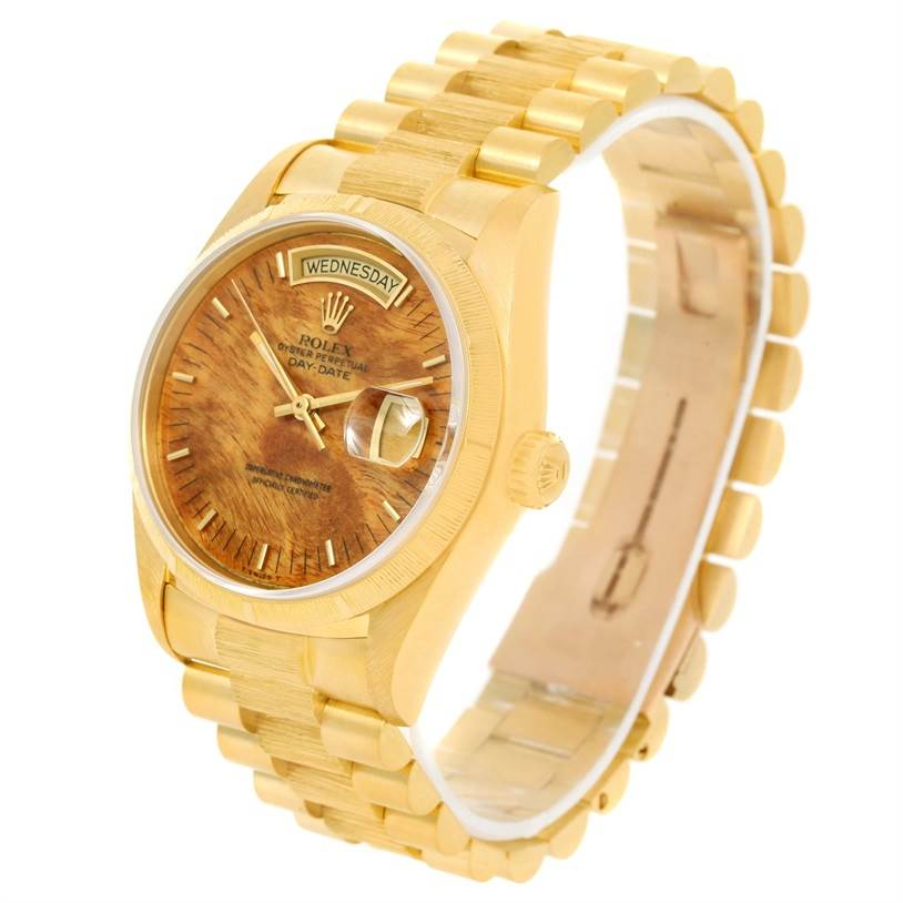 12777 Rolex President Day-Date 18k Yellow Gold Wood Dial Mens Watch 18078 SwissWatchExpo