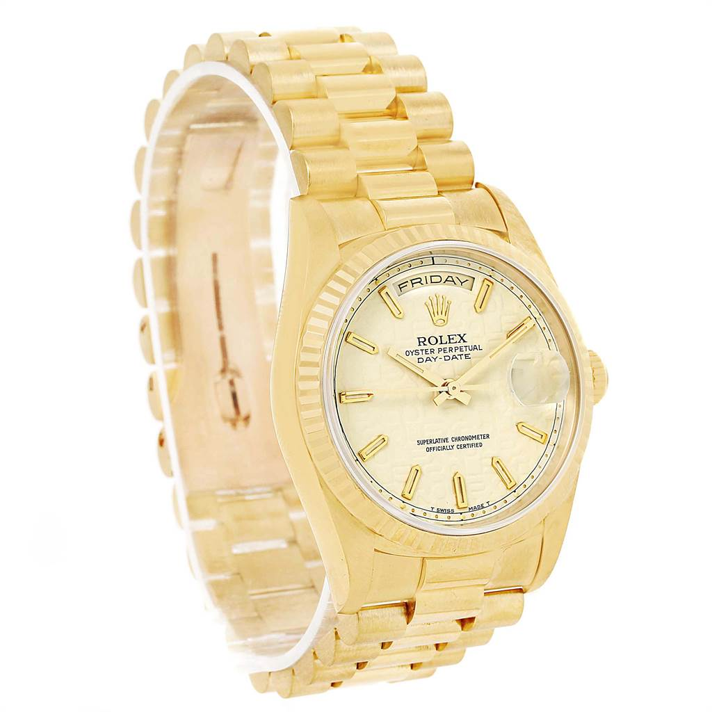 13095 Rolex President Day-Date Yellow Gold Anniversary Dial Watch 18238 Box Papers SwissWatchExpo
