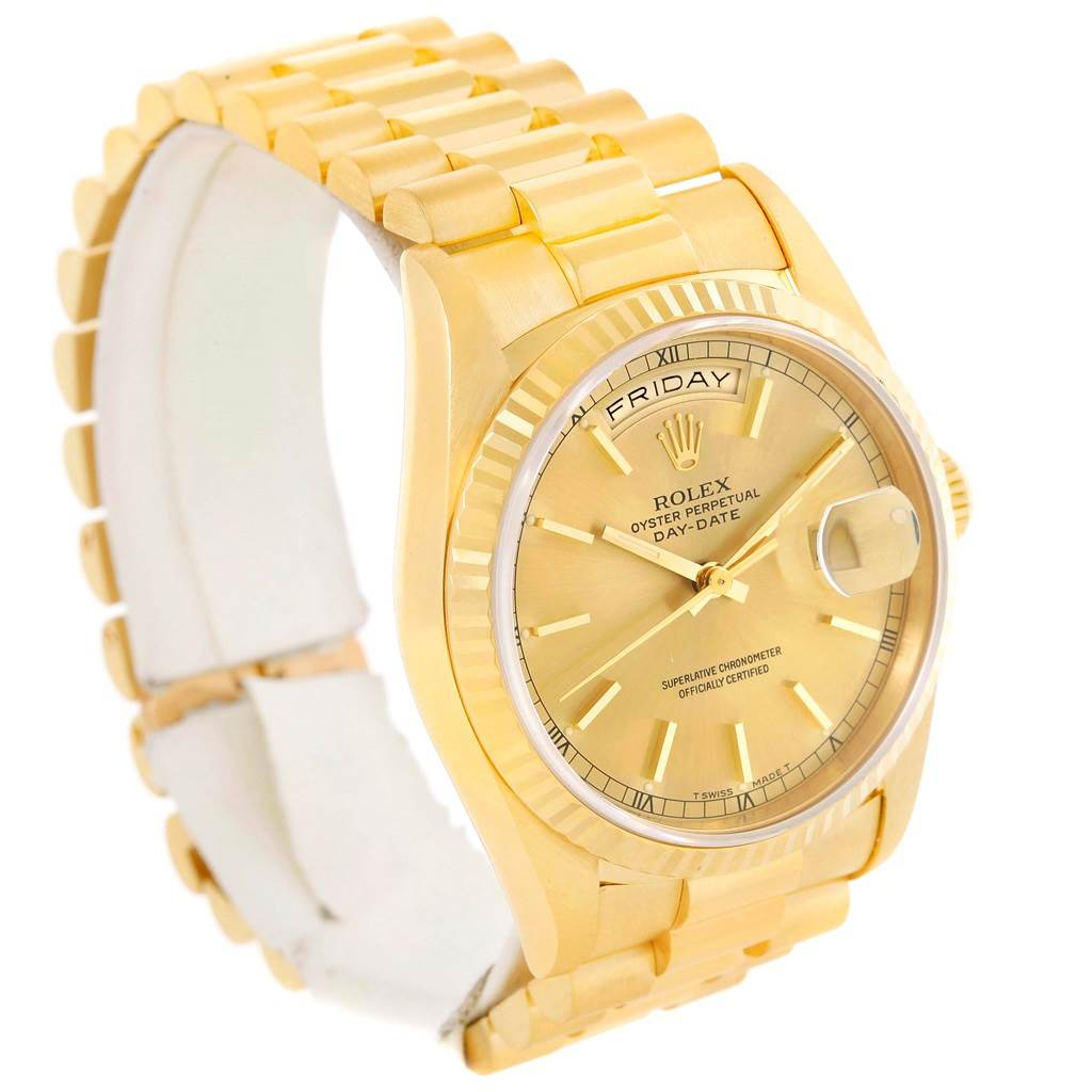 13343 Rolex President Day-Date 18k Yellow Gold Baton Dial Mens Watch 18238 SwissWatchExpo