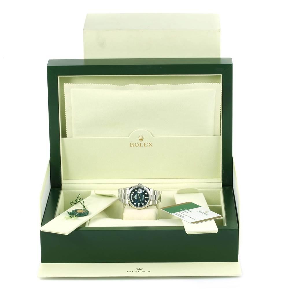 13559P Rolex President Day-Date Platinum Blue Diamond Dial Watch 118206 Unworn SwissWatchExpo
