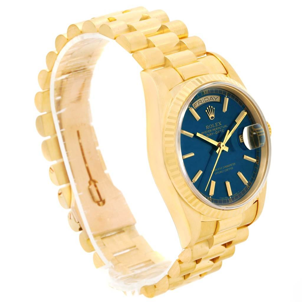 22749b537416 ... 13693 Rolex President Day-Date 18k Yellow Gold Blue Dial Mens Watch  18238 SwissWatchExpo ...