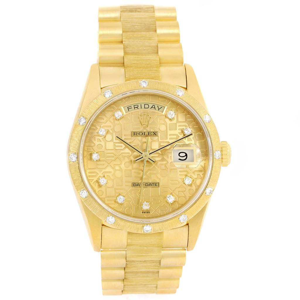 13842 Rolex President Crown Collection 18K Yellow Gold Diamond Watch 18308 SwissWatchExpo