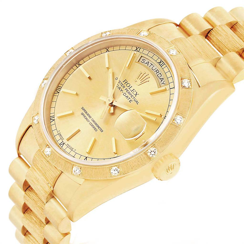Rolex President Day Date Yellow Gold Diamond Mens Watch 18308 SwissWatchExpo