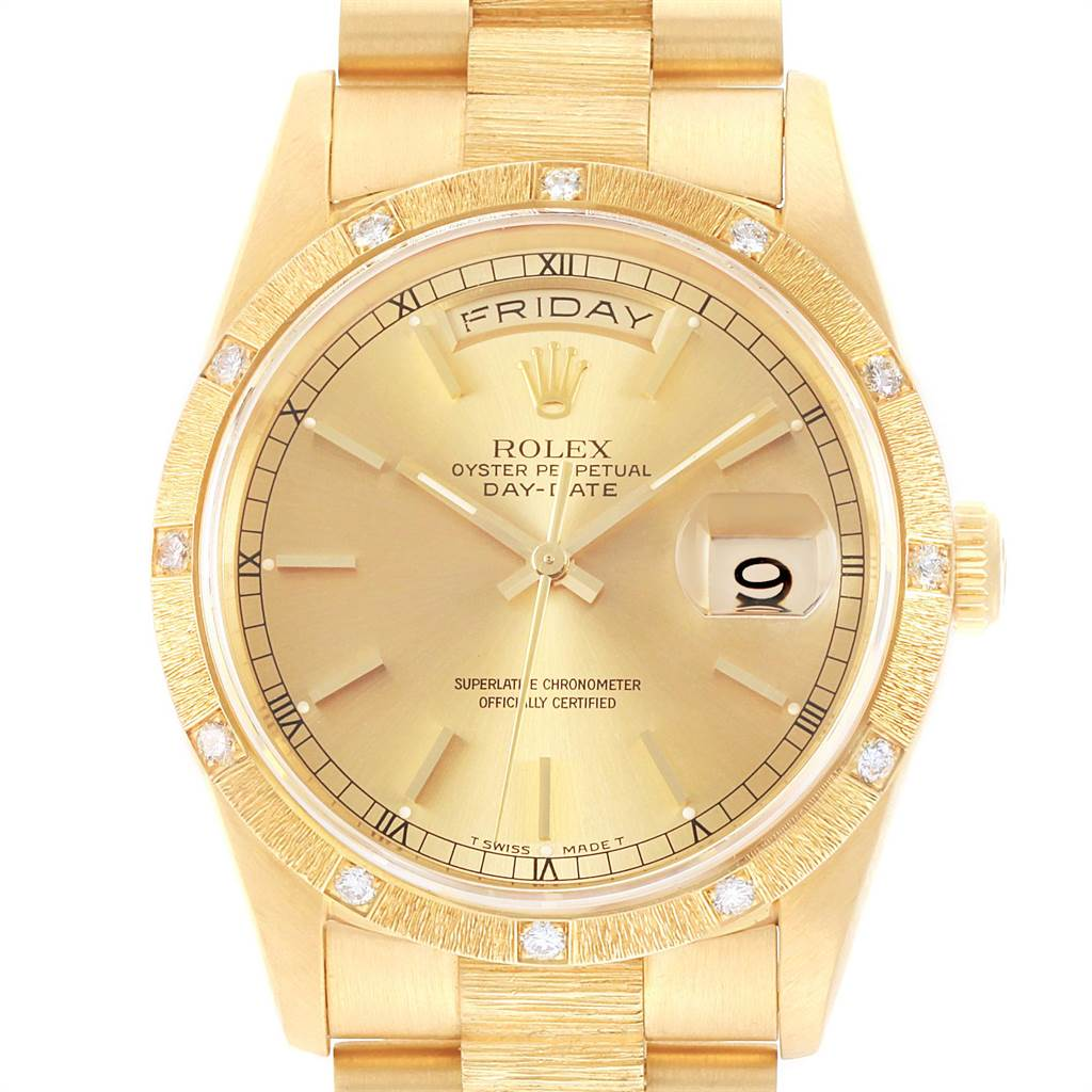 13973 Rolex President Day Date Yellow Gold Diamond Mens Watch 18308 SwissWatchExpo
