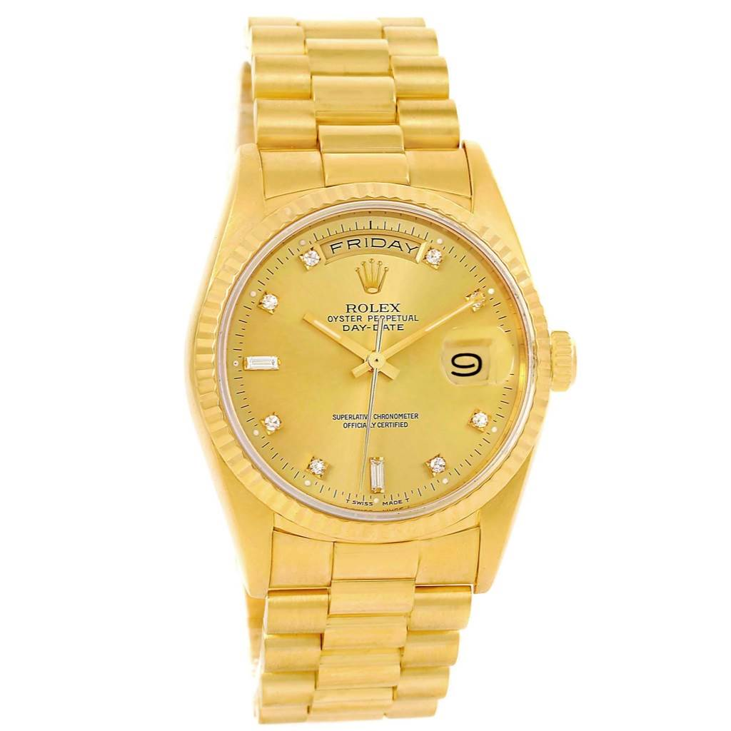 rolex president day date mens 18k yellow gold