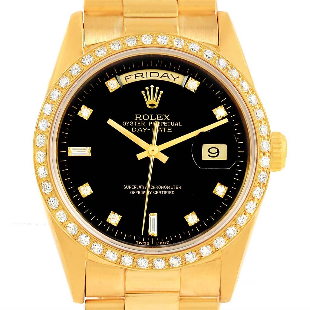 rolex 18k yellow gold day date president diamond mens price